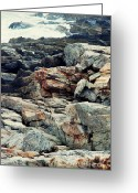 Fort Williams Park Photo Greeting Cards - Rocky coastline - cross processing Greeting Card by Hideaki Sakurai