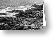 Fort Williams Park Photo Greeting Cards - Rocky coastline II - black and white Greeting Card by Hideaki Sakurai