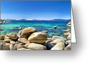 Incline Digital Art Greeting Cards - Rocky Cove Sand Harbor Greeting Card by Jason Abando