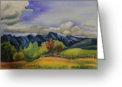 Cal Kimola Greeting Cards - Rocky Mountain Foothills Greeting Card by Cal Kimola