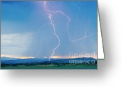 Lightning Bolt Pictures Greeting Cards - Rocky Mountain Front Range Foothills Lightning Strikes 1 Greeting Card by James Bo Insogna