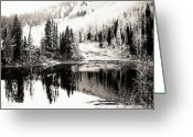 Autumn In The Country Greeting Cards - Rocky Mountain Lake - Black and White Greeting Card by Steve Ohlsen