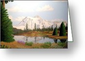Woodlands Mixed Media Greeting Cards - Rocky Mountain Majestic Greeting Card by Mickael Bruce