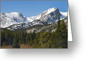 Colorado Mountains Greeting Cards - Rocky Mountain National Park Vista showing Hallet Peak on right Greeting Card by Brendan Reals