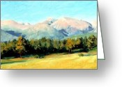 Morning Light Greeting Cards - Rocky Mountain Panoramic Greeting Card by Mary Giacomini