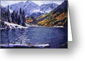 Winter Painting Greeting Cards - Rocky Mountain Serenity Greeting Card by David Lloyd Glover