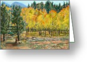 Autumn Landscape Pastels Greeting Cards - Rocky Mountain Siesta Greeting Card by Mary Benke