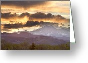 Walls Framed Prints Prints Greeting Cards - Rocky Mountain Springtime Sunset Greeting Card by James Bo Insogna