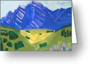 Western Canada Landscape Art Greeting Cards - Rocky Mountains in Spring Greeting Card by Kathleen Fitzpatrick