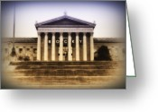 Tiger Tapestries Textiles Greeting Cards - Rocky on the Art Museum Steps Greeting Card by Bill Cannon