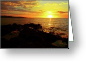 Jamaican Sunsets Greeting Cards - Rocky Shore Greeting Card by Kamil Swiatek