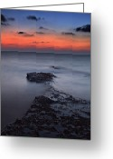 Sand And Sea Greeting Cards - Rocky Shores Of Agios Georgios Greeting Card by Amanda Finan