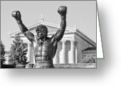 Athlete Greeting Cards - Rocky Statue - Philadelphia Greeting Card by Brendan Reals