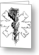 Freedom Fighter Brand Greeting Cards - Rod of Asclepius Greeting Card by Scarlett Royal