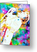 Music Legends Greeting Cards - Rod Stewart Greeting Card by Rosalina Atanasova