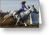 Athletes Greeting Cards - Rodeo Barrel Racer Greeting Card by Bob Christopher