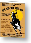Wild West Greeting Cards - Rodeo Cowboy Riding Bull Poster Greeting Card by Aloysius Patrimonio