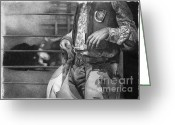 Cowboy Pencil Drawing Greeting Cards - Rodeo Greeting Card by David Vanderpool
