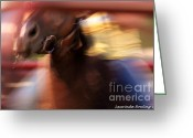 Quarter Horse Greeting Cards - Rodeo Excitment  Abstract Greeting Card by Laurinda Bowling