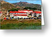 Foot Bridge Greeting Cards - Rodeo Lagoon in The Marin Headlands California . Panorama . Painterly Style Greeting Card by Wingsdomain Art and Photography