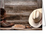 Cowboy Hat Photo Greeting Cards - Rodeo Still Life Greeting Card by Olivier Le Queinec