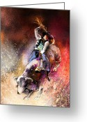 American Cowboy Digital Art Greeting Cards - Rodeoscape 01 Greeting Card by Miki De Goodaboom
