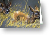 Forest Pastels Greeting Cards - Roe Deer Greeting Card by Angel  Tarantella
