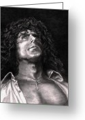 Celebrities Drawings Greeting Cards - Roger Daltry Greeting Card by Kathleen Kelly Thompson