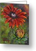 Brown Daisy Pastels Greeting Cards - Role Model Greeting Card by Debbie Harding