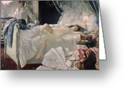 Romance Greeting Cards - Rolla Greeting Card by Henri Gervex