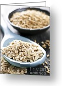 Grains Greeting Cards - Rolled oats and oat groats Greeting Card by Elena Elisseeva