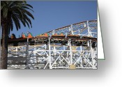 Paradise Pier Greeting Cards - Roller Coaster - 5D17608 Greeting Card by Wingsdomain Art and Photography