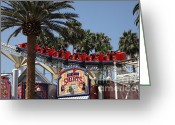 California Adventure Greeting Cards - Roller Coaster - 5D17628 Greeting Card by Wingsdomain Art and Photography