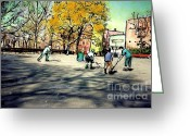 Hockey Mixed Media Greeting Cards - Roller Hockey in Bennett Park Greeting Card by Sarah Loft
