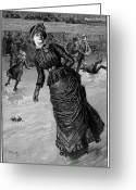 Corsage Greeting Cards - Roller Skating, 1885 Greeting Card by Granger