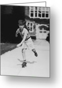 White T-shirt Greeting Cards - Rollerskating Boy Greeting Card by Fpg