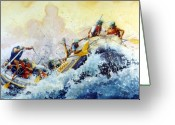 White Water Rafting Print Greeting Cards - Rollin Down The River Greeting Card by Hanne Lore Koehler