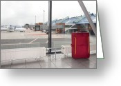 Airport Concourse Greeting Cards - Rolling Luggage in an Airport Concourse Greeting Card by Jaak Nilson