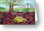 Transportation Tapestries - Textiles Greeting Cards - Rolling on the Bricks Greeting Card by Charlene White