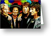 Rolling Stones Mixed Media Greeting Cards - Rolling Stones Mystical Greeting Card by Paul Van Scott