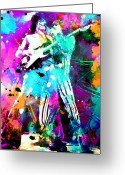 Concert Painting Greeting Cards - Rolling Stones Greeting Card by Rosalina Atanasova
