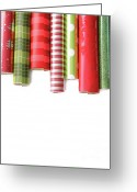  Wrapping Greeting Cards - Rolls of colored wrapping  paper on white3 Greeting Card by Sandra Cunningham