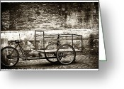 Cobblestone Street Greeting Cards - Roma Big Basket Greeting Card by John Rizzuto