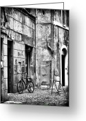 Cobblestone Street Greeting Cards - Roma Bike Greeting Card by John Rizzuto