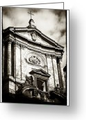 Crucifix Art Greeting Cards - Roma Church Greeting Card by John Rizzuto
