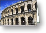 Architectural Greeting Cards - Roman arena in Nimes France Greeting Card by Elena Elisseeva