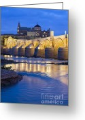 Historical Site Greeting Cards - Roman Bridge on Guadalquivir River at Dawn Greeting Card by Artur Bogacki