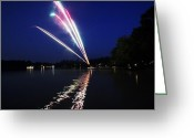 4th July Greeting Cards - Roman Candle Greeting Card by Ty Helbach