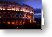 Ancient Rome Greeting Cards - Roman Colosseum at Night Greeting Card by Traveler Scout