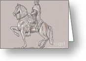Mane Greeting Cards - Roman emperor riding horse Greeting Card by Aloysius Patrimonio